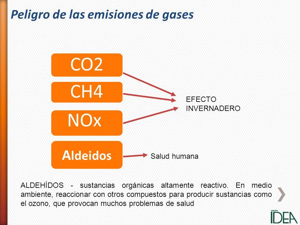 EFECTO INVERNADERO Salud humana A ldeidos CO2 CH4 NOx ALDEHÍDOS - sustancias orgánicas altamente reactivo. En medio ambiente, reaccionar con otros com