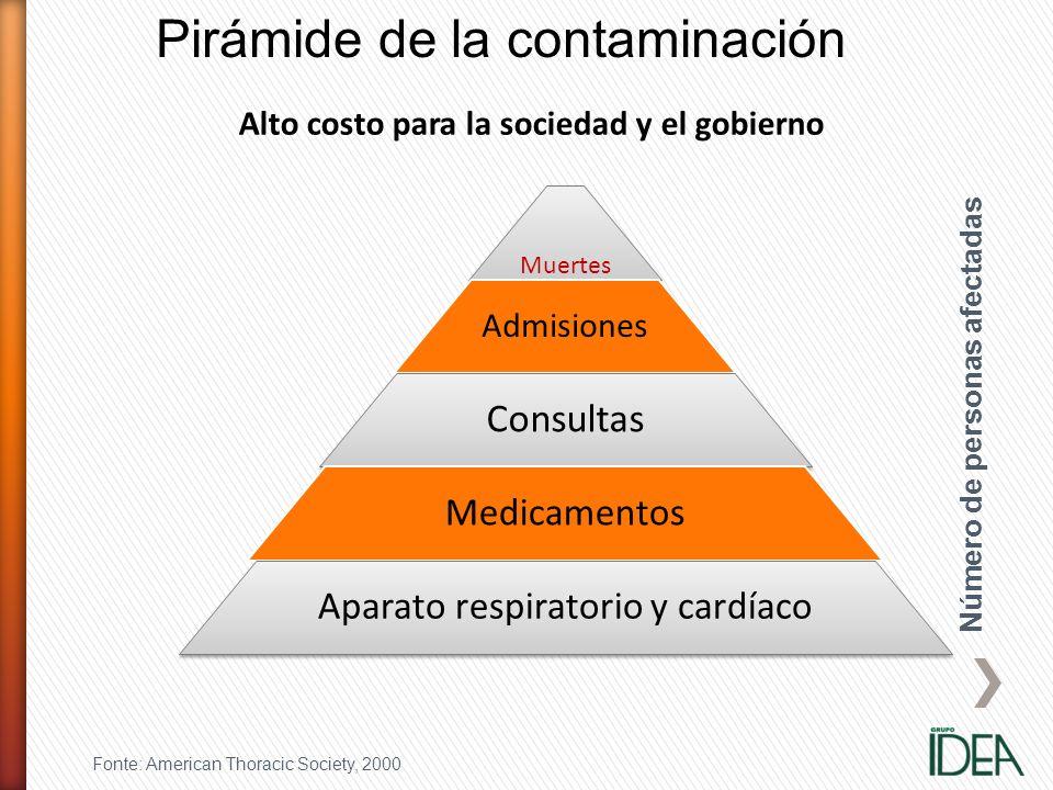 Muertes Admisiones Consultas Medicamentos Aparato respiratorio y cardíaco Pirámide de la contaminación Fonte: American Thoracic Society, 2000 Alto cos