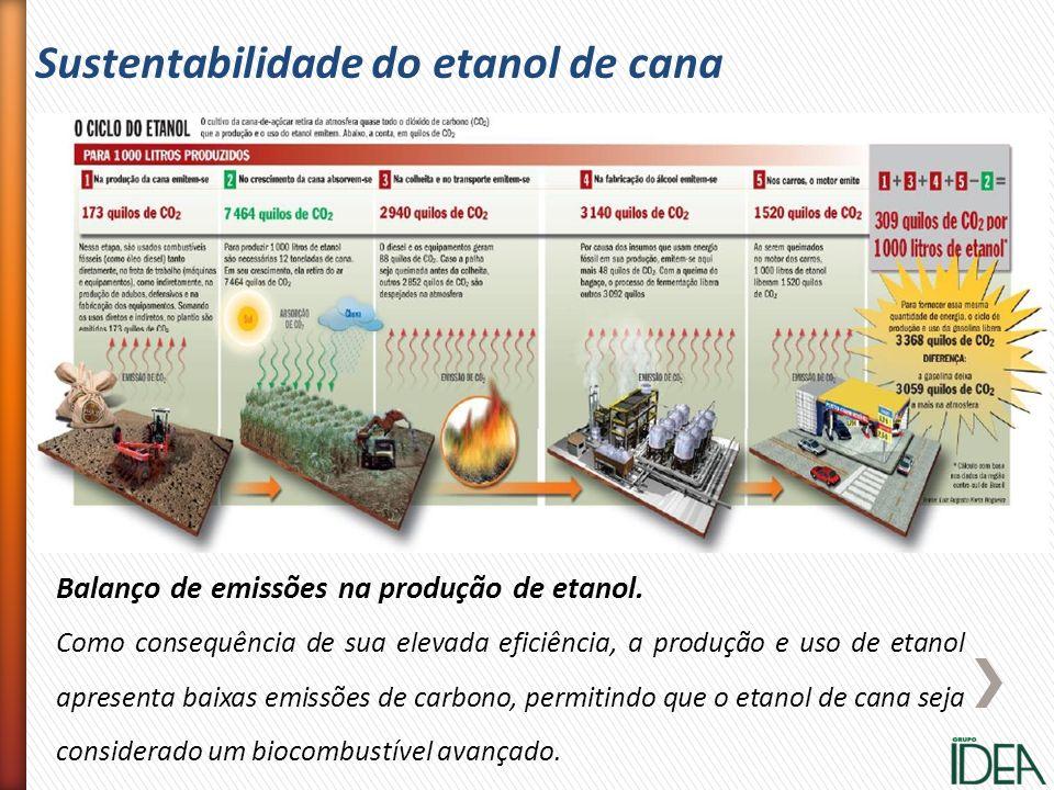 Sustentabilidade do etanol de cana Balanço de emissões na produção de etanol. Como consequência de sua elevada eficiência, a produção e uso de etanol