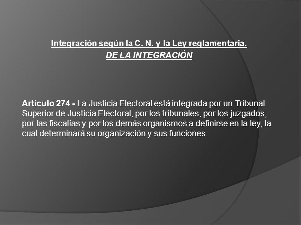 Integración según la C. N. y la Ley reglamentaria. DE LA INTEGRACIÓN Artículo 274 - La Justicia Electoral está integrada por un Tribunal Superior de J