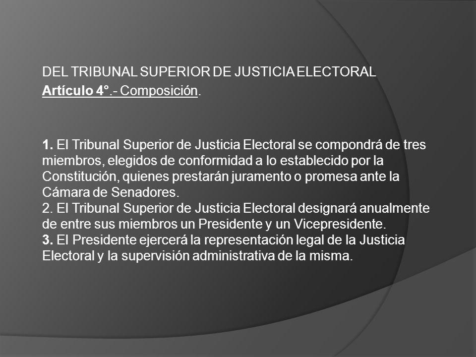 DEL TRIBUNAL SUPERIOR DE JUSTICIA ELECTORAL Artículo 4°.- Composición. 1. El Tribunal Superior de Justicia Electoral se compondrá de tres miembros, el