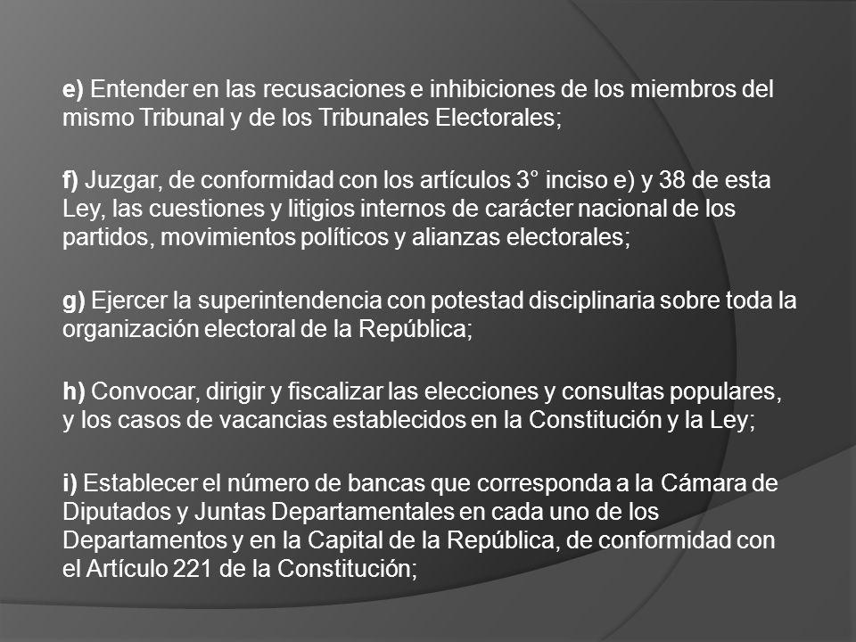 e) Entender en las recusaciones e inhibiciones de los miembros del mismo Tribunal y de los Tribunales Electorales; f) Juzgar, de conformidad con los a