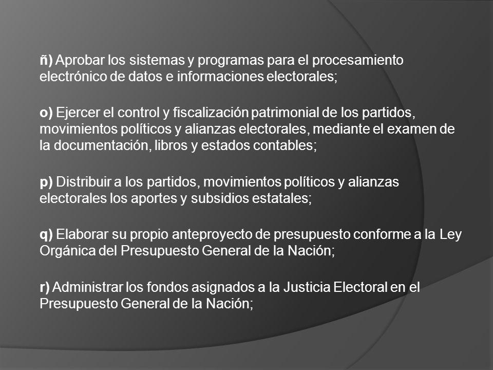 ñ) Aprobar los sistemas y programas para el procesamiento electrónico de datos e informaciones electorales; o) Ejercer el control y fiscalización patr