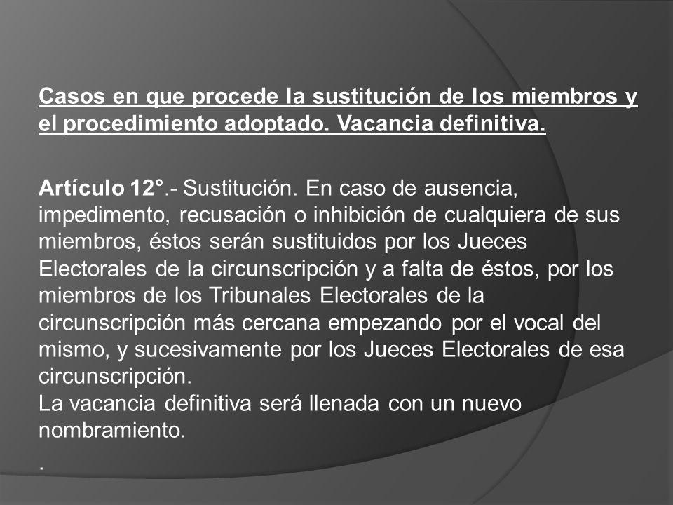 Casos en que procede la sustitución de los miembros y el procedimiento adoptado. Vacancia definitiva. Artículo 12°.- Sustitución. En caso de ausencia,