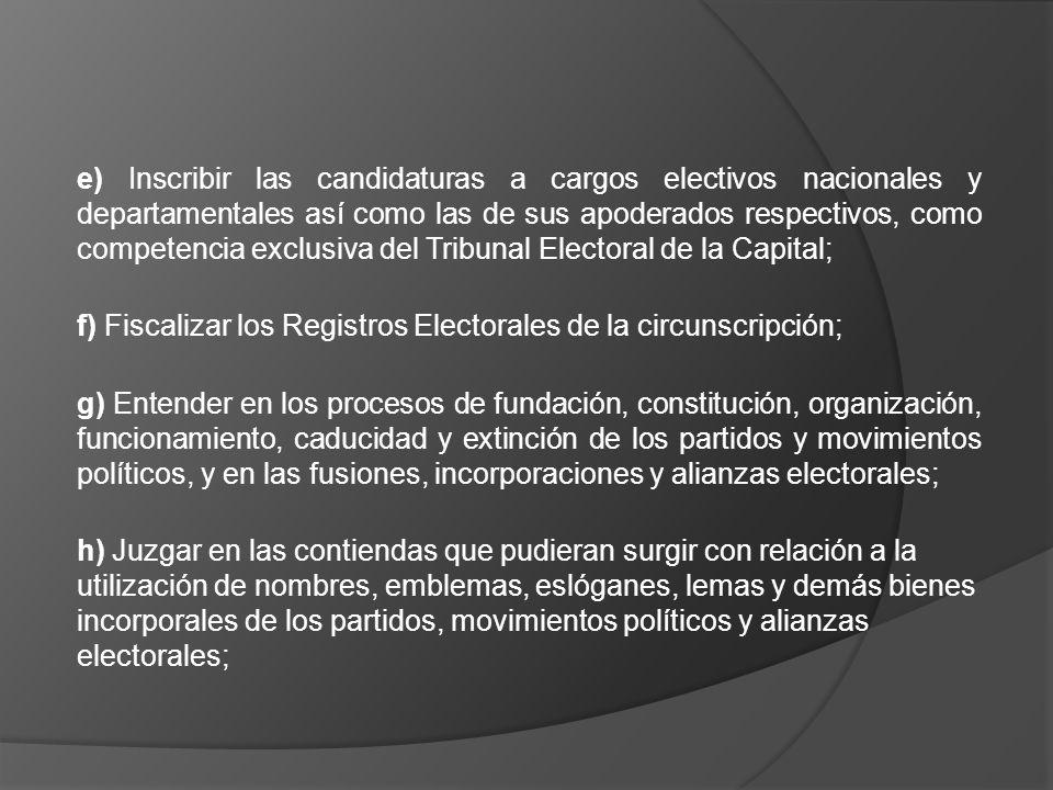 e) Inscribir las candidaturas a cargos electivos nacionales y departamentales así como las de sus apoderados respectivos, como competencia exclusiva d