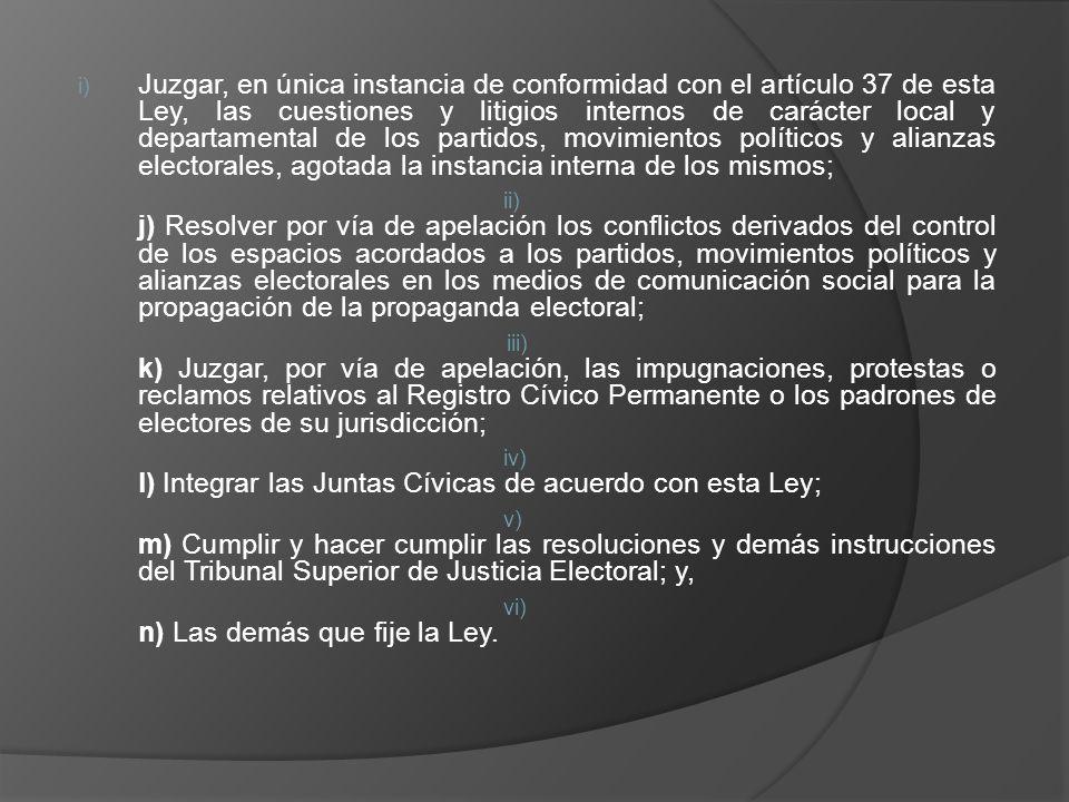 i) Juzgar, en única instancia de conformidad con el artículo 37 de esta Ley, las cuestiones y litigios internos de carácter local y departamental de l