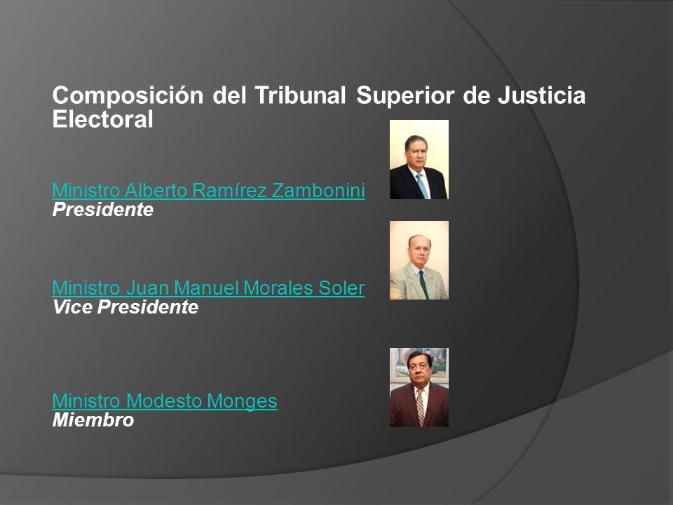 Composición del Tribunal Superior de Justicia Electoral Ministro Alberto Ramírez Zambonini Ministro Alberto Ramírez Zambonini Presidente Ministro Juan