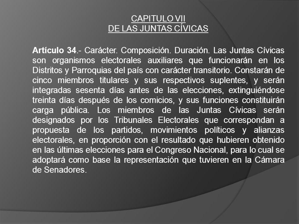 CAPITULO VII DE LAS JUNTAS CÍVICAS Artículo 34.- Carácter. Composición. Duración. Las Juntas Cívicas son organismos electorales auxiliares que funcion