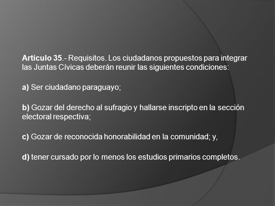 Artículo 35.- Requisitos. Los ciudadanos propuestos para integrar las Juntas Cívicas deberán reunir las siguientes condiciones: a) Ser ciudadano parag