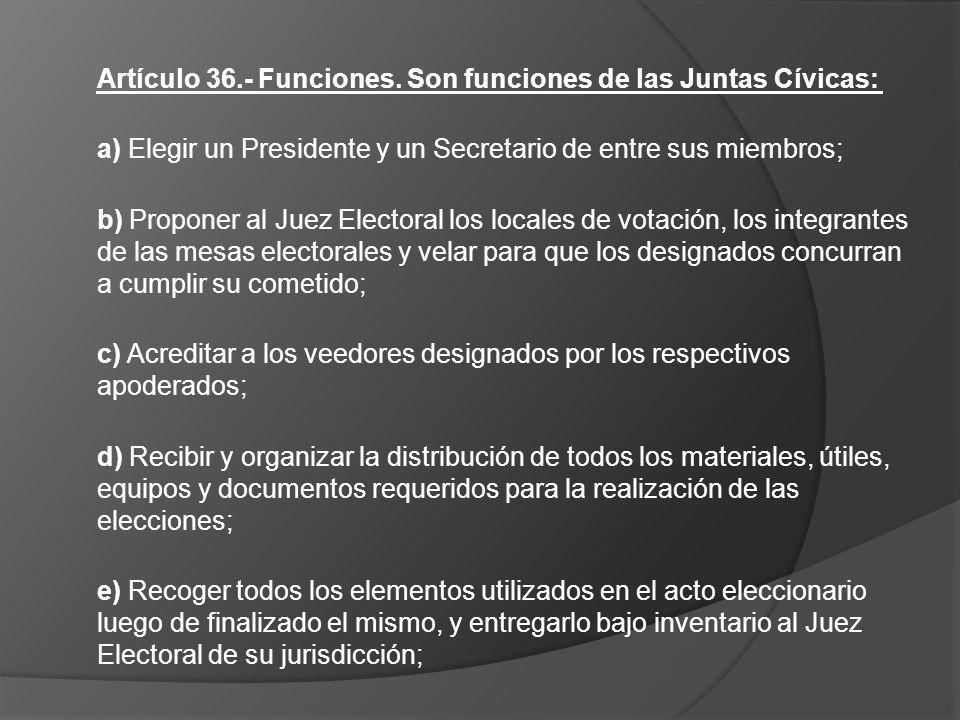 Artículo 36.- Funciones. Son funciones de las Juntas Cívicas: a) Elegir un Presidente y un Secretario de entre sus miembros; b) Proponer al Juez Elect