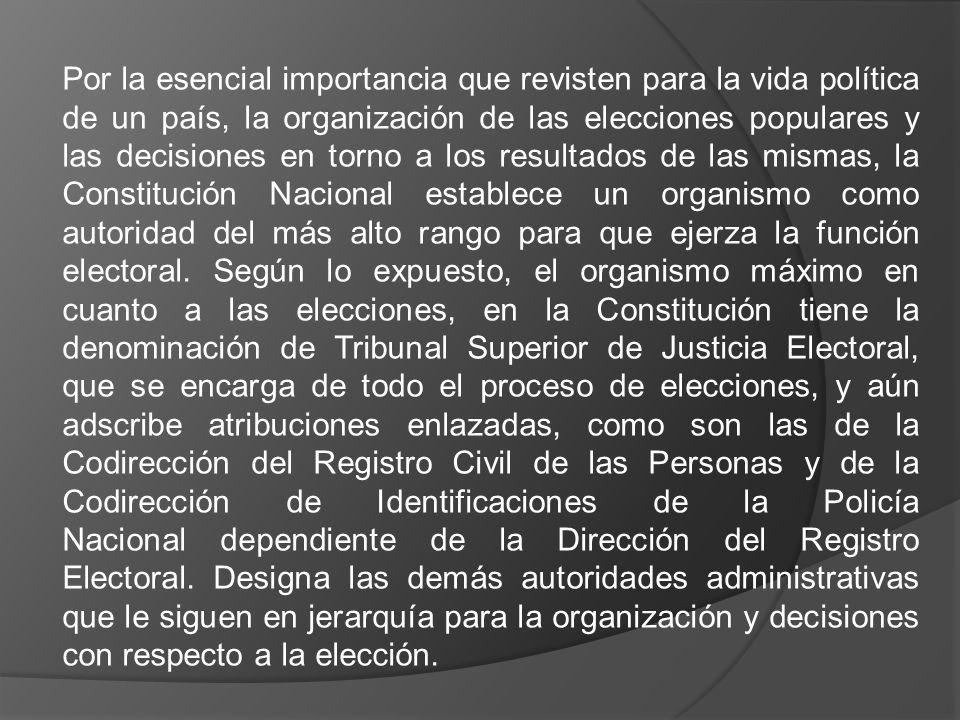 Por la esencial importancia que revisten para la vida política de un país, la organización de las elecciones populares y las decisiones en torno a los