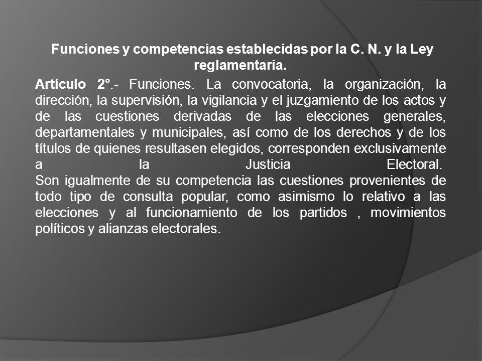 Funciones y competencias establecidas por la C. N. y la Ley reglamentaria. Artículo 2°.- Funciones. La convocatoria, la organización, la dirección, la