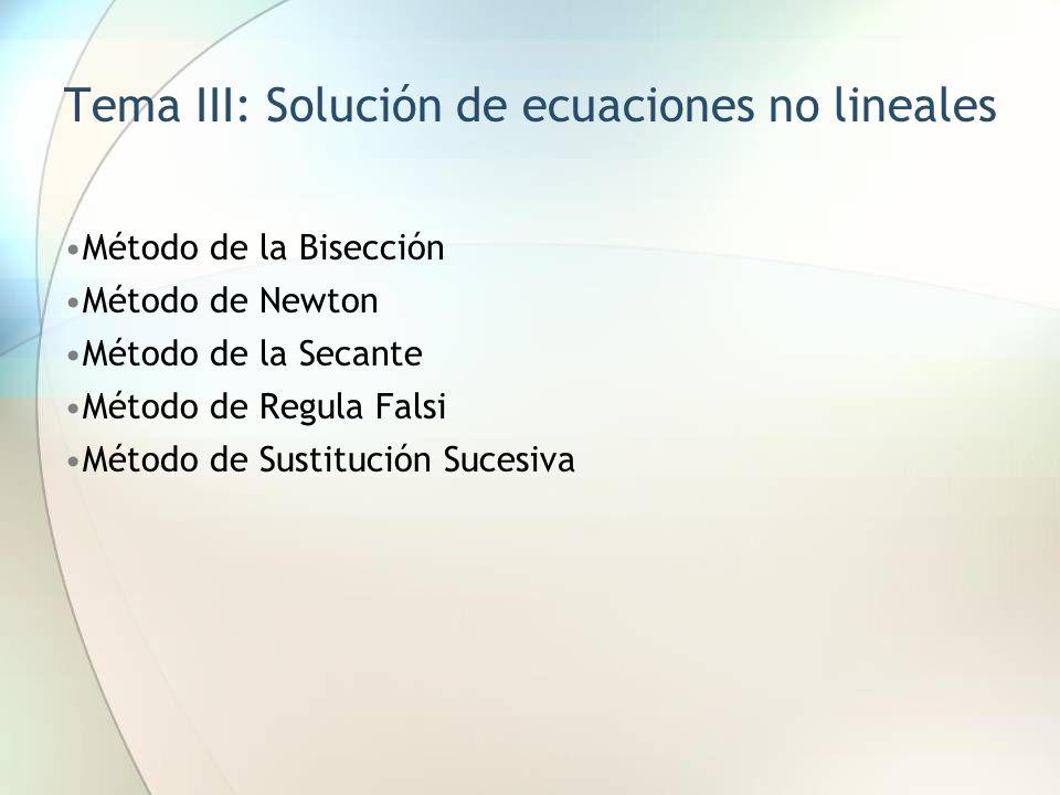 Tema III: Solución de ecuaciones no lineales Método de la Bisección Método de Newton Método de la Secante Método de Regula Falsi Método de Sustitución