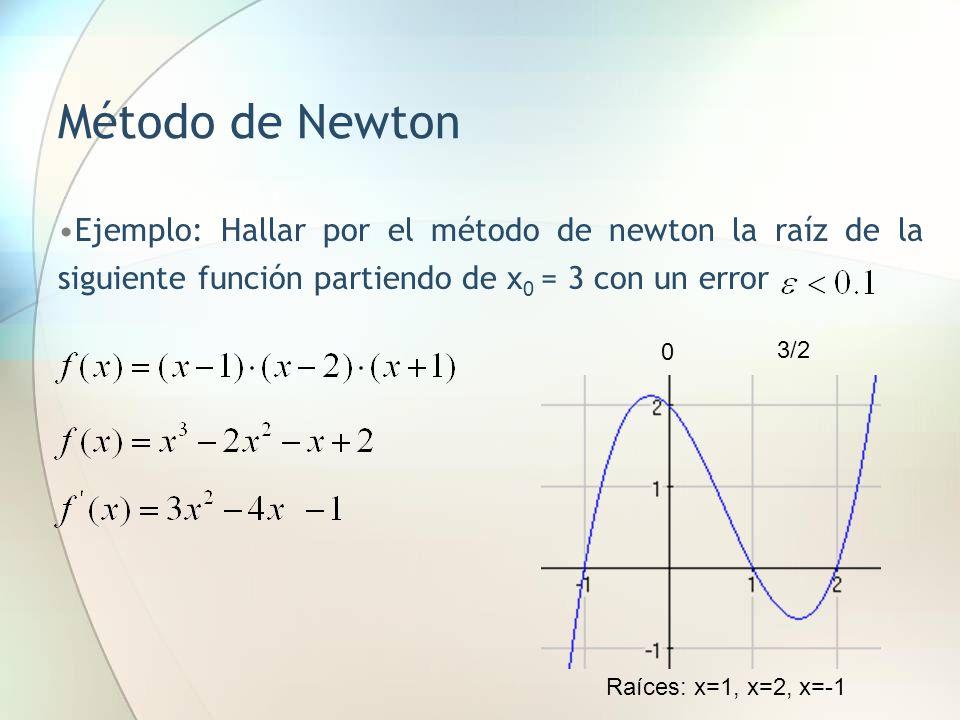 Método de Newton Ejemplo: Hallar por el método de newton la raíz de la siguiente función partiendo de x 0 = 3 con un error Raíces: x=1, x=2, x=-1 0 3/