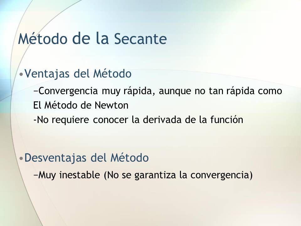 Método de la Secante Ventajas del Método Convergencia muy rápida, aunque no tan rápida como El Método de Newton -No requiere conocer la derivada de la