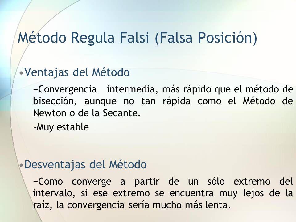 Método Regula Falsi (Falsa Posición) Ventajas del Método Convergencia intermedia, más rápido que el método de bisección, aunque no tan rápida como el