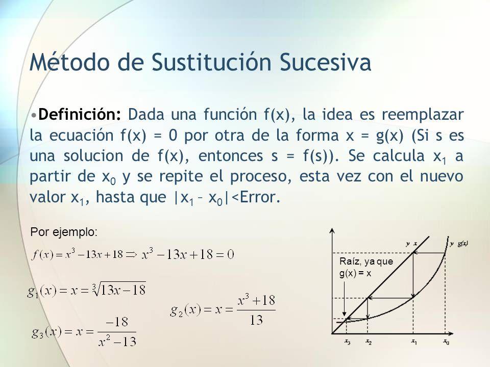 Método de Sustitución Sucesiva Definición: Dada una función f(x), la idea es reemplazar la ecuación f(x) = 0 por otra de la forma x = g(x) (Si s es un