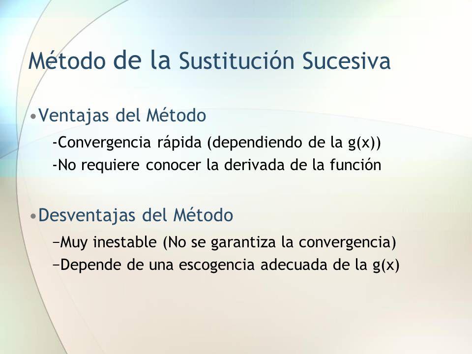 Método de la Sustitución Sucesiva Ventajas del Método -Convergencia rápida (dependiendo de la g(x)) -No requiere conocer la derivada de la función Des