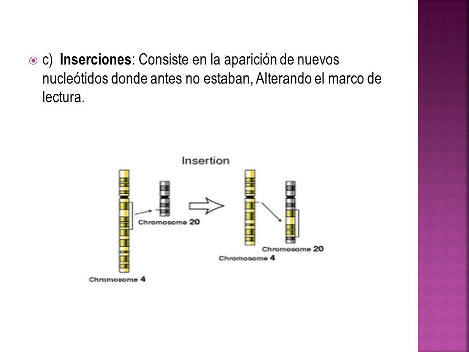 c) Inserciones : Consiste en la aparición de nuevos nucleótidos donde antes no estaban, Alterando el marco de lectura.