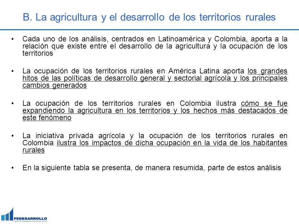 B. La agricultura y el desarrollo de los territorios rurales Cada uno de los análisis, centrados en Latinoamérica y Colombia, aporta a la relación que