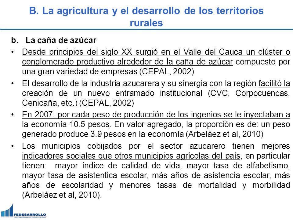 B. La agricultura y el desarrollo de los territorios rurales b.La caña de azúcar Desde principios del siglo XX surgió en el Valle del Cauca un clúster