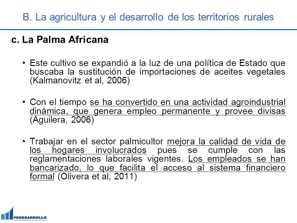 B. La agricultura y el desarrollo de los territorios rurales c. La Palma Africana Este cultivo se expandió a la luz de una política de Estado que busc