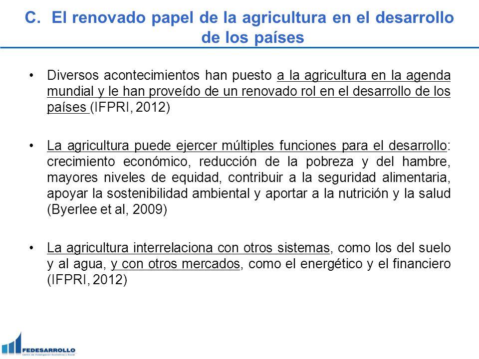 C.El renovado papel de la agricultura en el desarrollo de los países Diversos acontecimientos han puesto a la agricultura en la agenda mundial y le ha