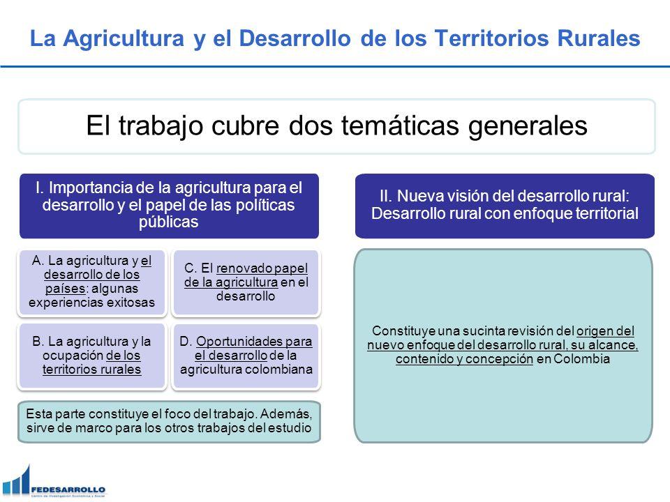 La Agricultura y el Desarrollo de los Territorios Rurales El trabajo cubre dos temáticas generales I. Importancia de la agricultura para el desarrollo