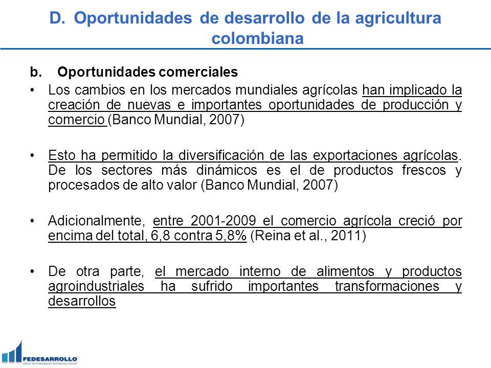 D.Oportunidades de desarrollo de la agricultura colombiana b.Oportunidades comerciales Los cambios en los mercados mundiales agrícolas han implicado l
