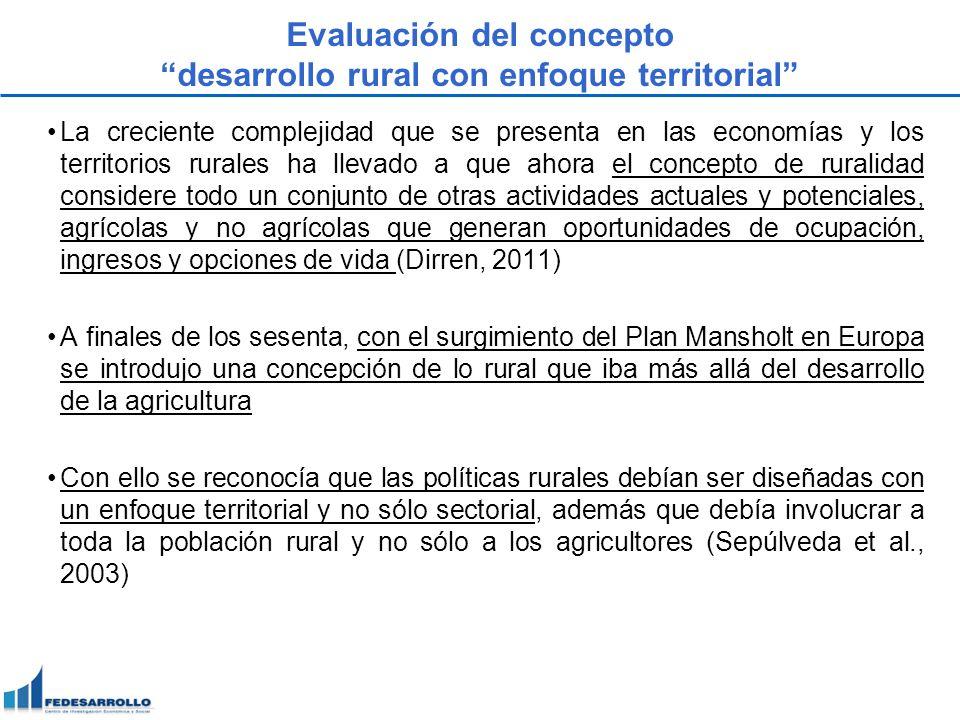Evaluación del concepto desarrollo rural con enfoque territorial La creciente complejidad que se presenta en las economías y los territorios rurales h