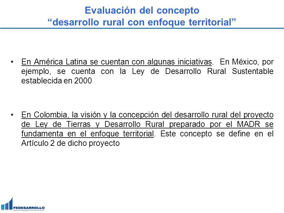 Evaluación del concepto desarrollo rural con enfoque territorial En América Latina se cuentan con algunas iniciativas. En México, por ejemplo, se cuen