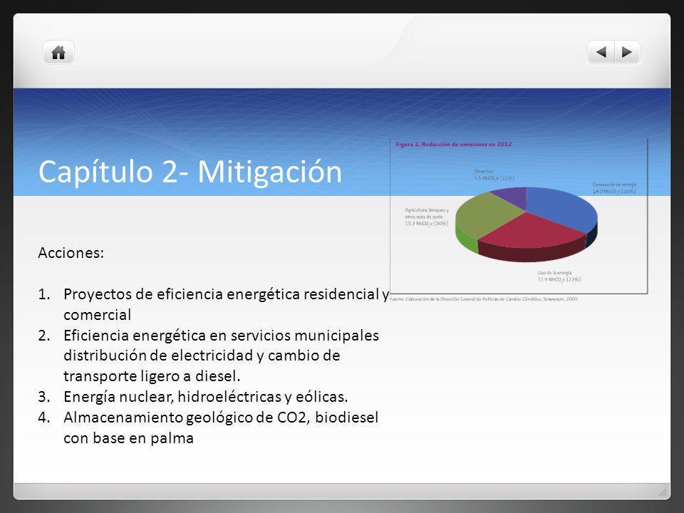 Capítulo 2- Mitigación Acciones: 1.Proyectos de eficiencia energética residencial y comercial 2.Eficiencia energética en servicios municipales distribución de electricidad y cambio de transporte ligero a diesel.