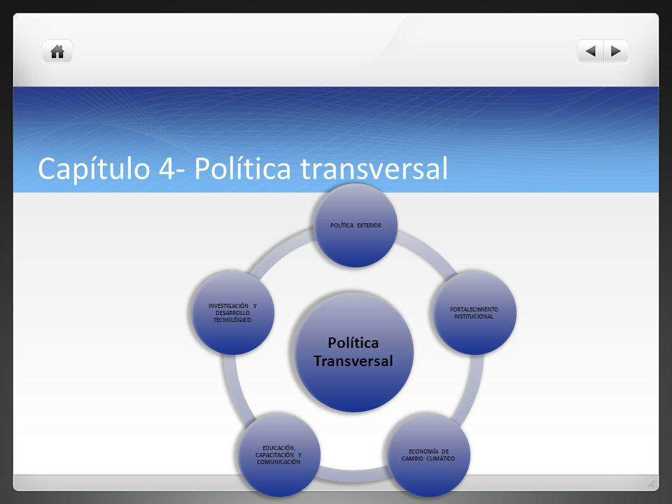 Capítulo 4- Política transversal Política Transversal POLÍTICA EXTERIOR FORTALECIMIENTO INSTITUCIONAL ECONOMÍA DE CAMBIO CLIMÁTICO EDUCACIÓN, CAPACITACIÓN Y COMUNICACIÓN INVESTIGACIÓN Y DESARROLLO TECNOLÓGICO