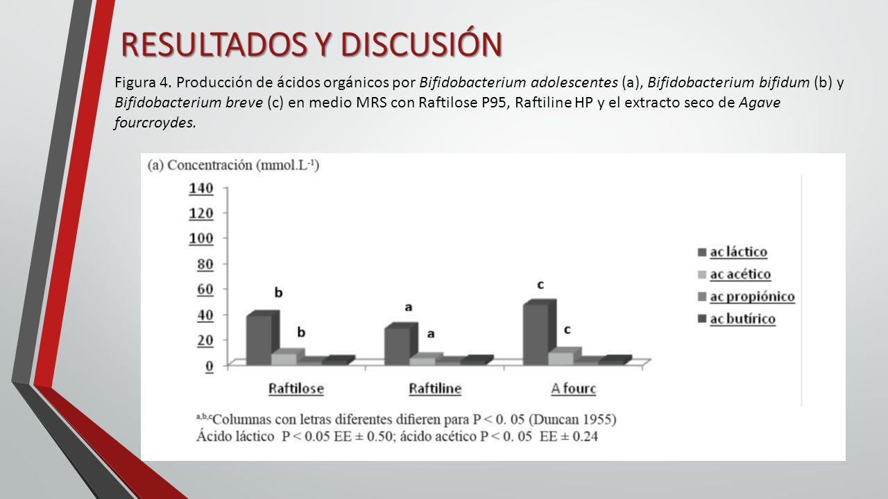 Figura 4. Producción de ácidos orgánicos por Bifidobacterium adolescentes (a), Bifidobacterium bifidum (b) y Bifidobacterium breve (c) en medio MRS co