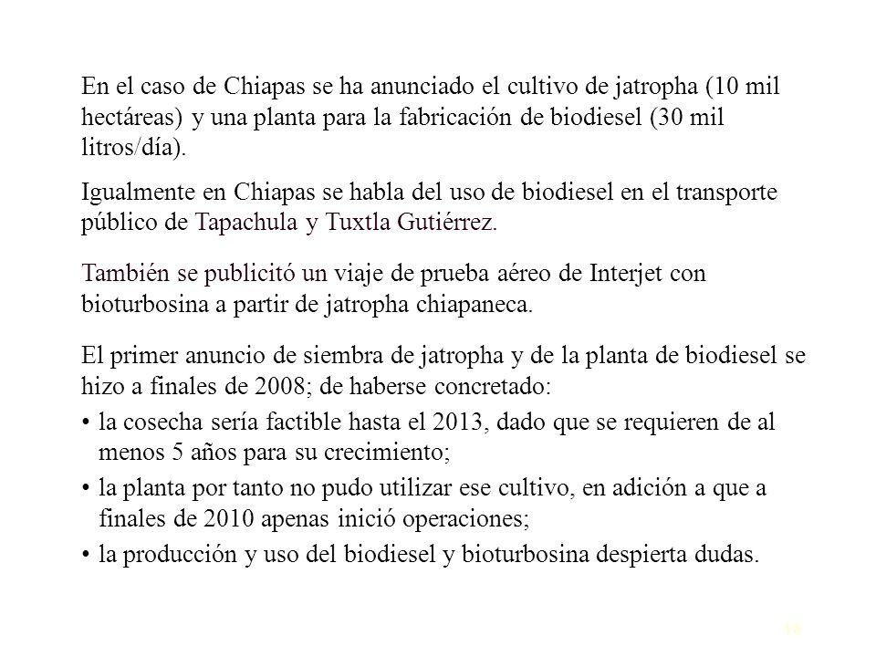 18 En el caso de Chiapas se ha anunciado el cultivo de jatropha (10 mil hectáreas) y una planta para la fabricación de biodiesel (30 mil litros/día).
