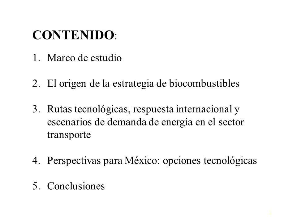 2 CONTENIDO : 1.Marco de estudio 2.El origen de la estrategia de biocombustibles 3.Rutas tecnológicas, respuesta internacional y escenarios de demanda
