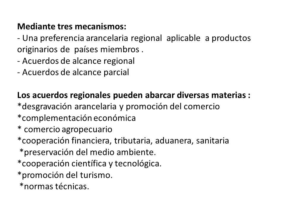 Mediante tres mecanismos: - Una preferencia arancelaria regional aplicable a productos originarios de países miembros. - Acuerdos de alcance regional