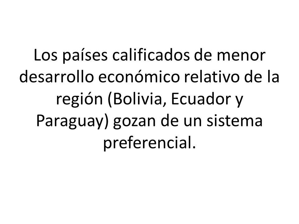 Los países calificados de menor desarrollo económico relativo de la región (Bolivia, Ecuador y Paraguay) gozan de un sistema preferencial.