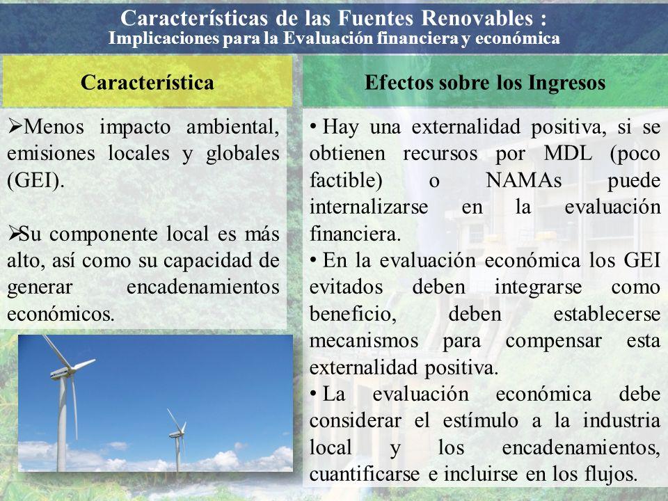 CaracterísticaEfectos sobre los Ingresos Menos impacto ambiental, emisiones locales y globales (GEI). Su componente local es más alto, así como su cap