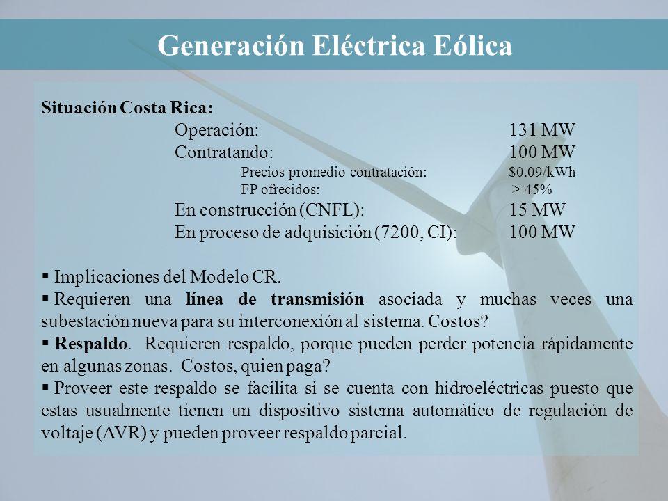 Situación Costa Rica: Operación:131 MW Contratando:100 MW Precios promedio contratación:$0.09/kWh FP ofrecidos: > 45% En construcción (CNFL):15 MW En