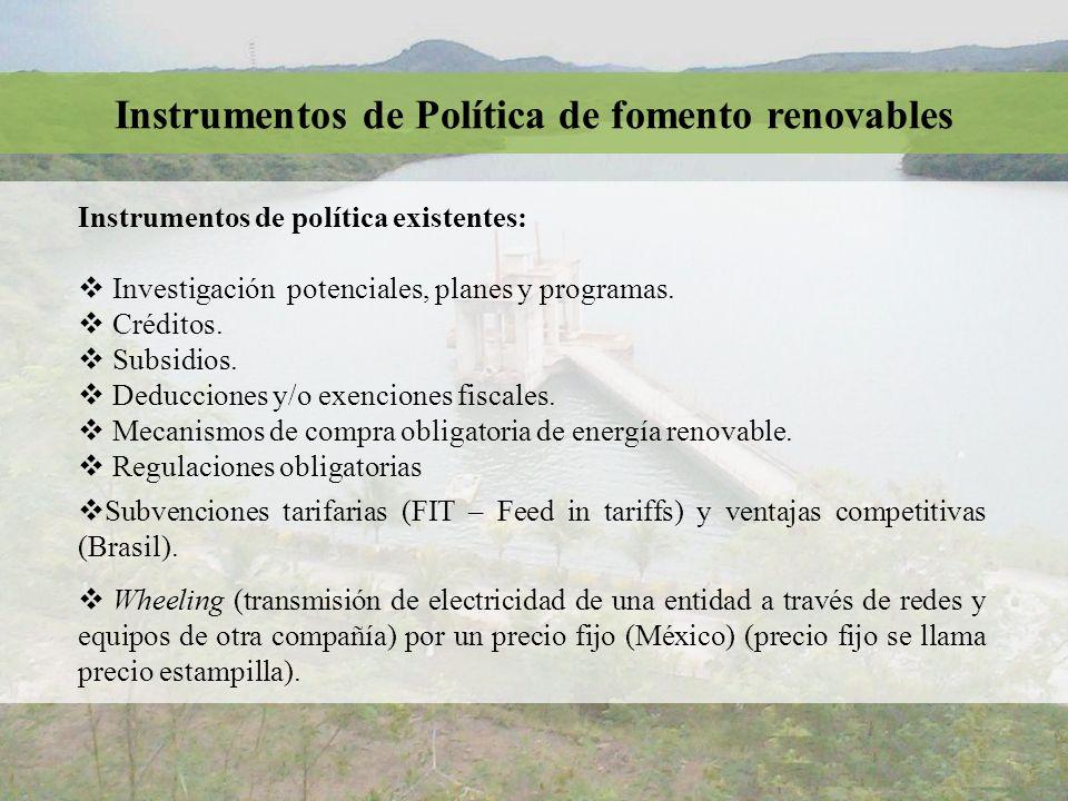 Instrumentos de política existentes: Investigación potenciales, planes y programas. Créditos. Subsidios. Deducciones y/o exenciones fiscales. Mecanism