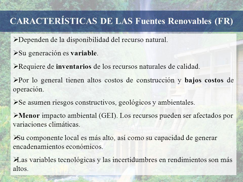 Dependen de la disponibilidad del recurso natural. Su generación es variable. Requiere de inventarios de los recursos naturales de calidad. Por lo gen
