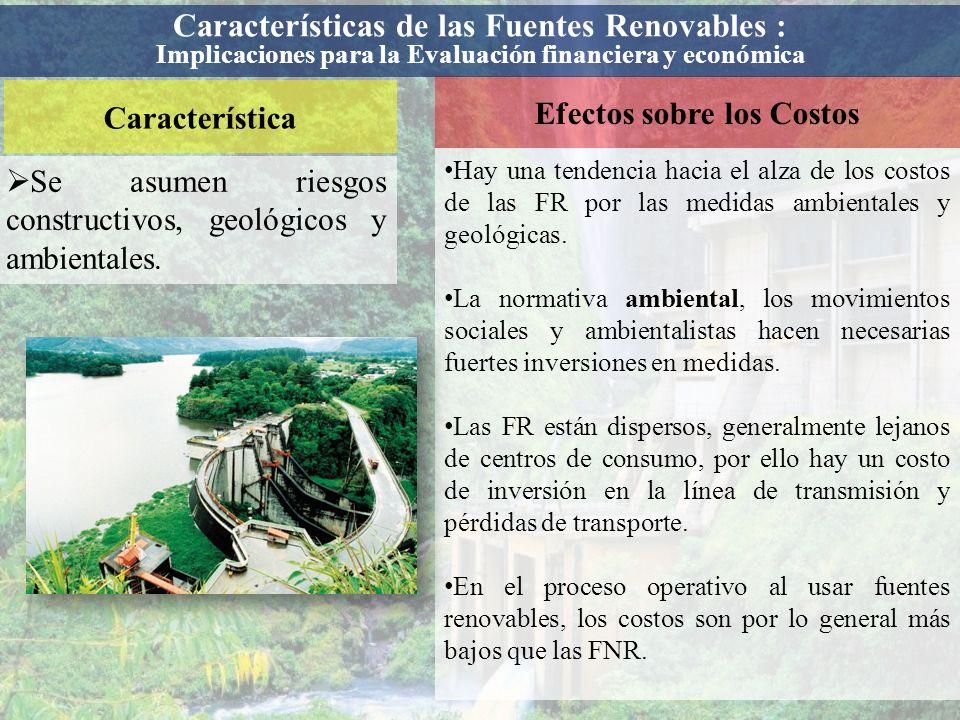 Característica Efectos sobre los Costos Se asumen riesgos constructivos, geológicos y ambientales. Hay una tendencia hacia el alza de los costos de la