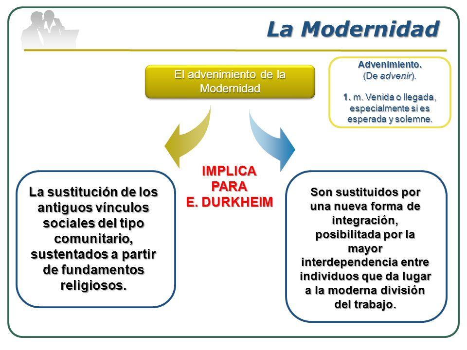 La Modernidad La sustitución de los antiguos vínculos sociales del tipo comunitario, sustentados a partir de fundamentos religiosos. Advenimiento. (De