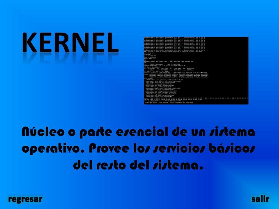 Núcleo o parte esencial de un sistema operativo.