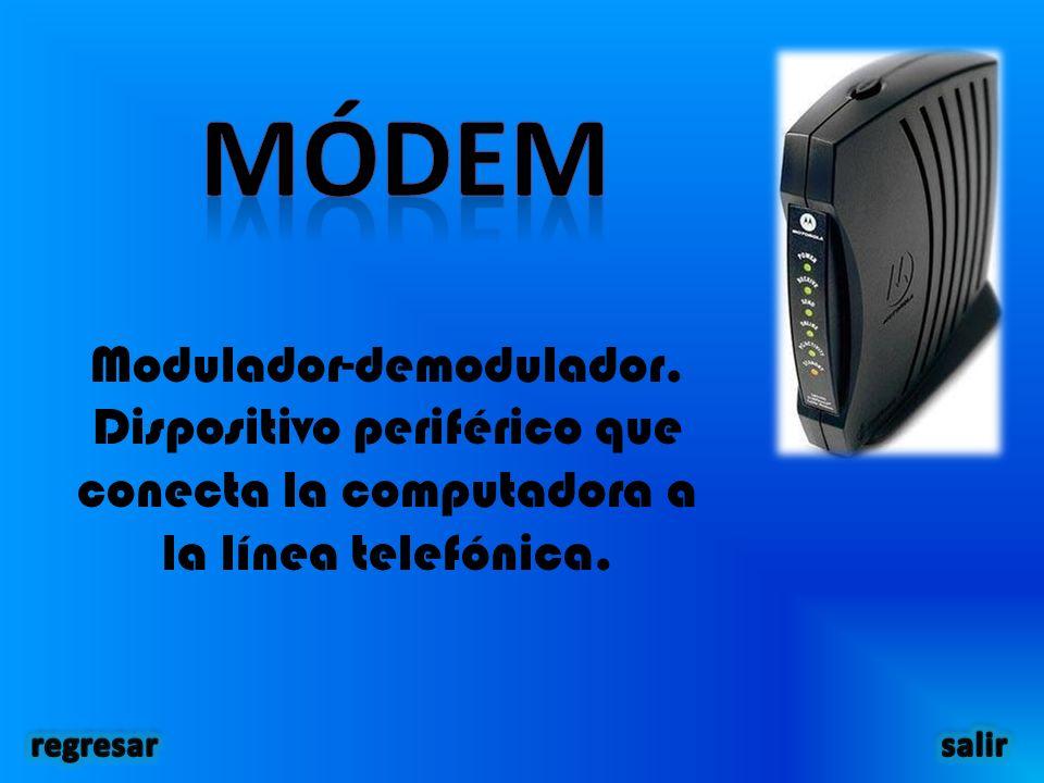 Modulador-demodulador. Dispositivo periférico que conecta la computadora a la línea telefónica.