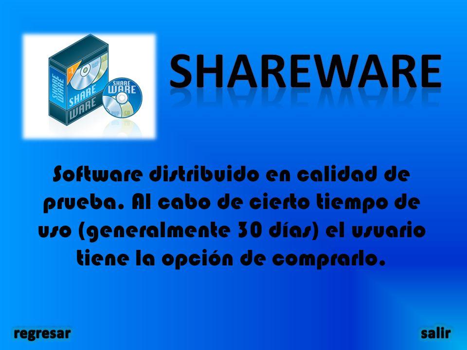 Software distribuido en calidad de prueba.