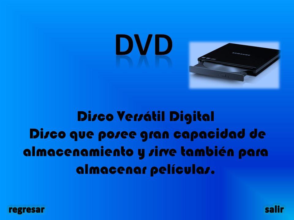Disco Versátil Digital Disco que posee gran capacidad de almacenamiento y sirve también para almacenar películas.