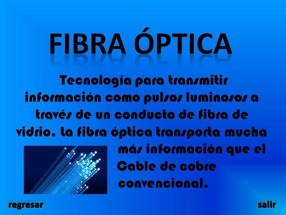 Tecnología para transmitir información como pulsos luminosos a través de un conducto de fibra de vidrio.