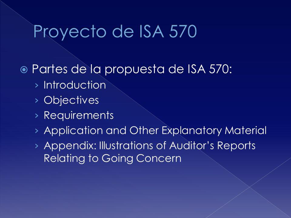 Partes de la propuesta de ISA 570: Introduction Objectives Requirements Application and Other Explanatory Material Appendix: Illustrations of Auditors